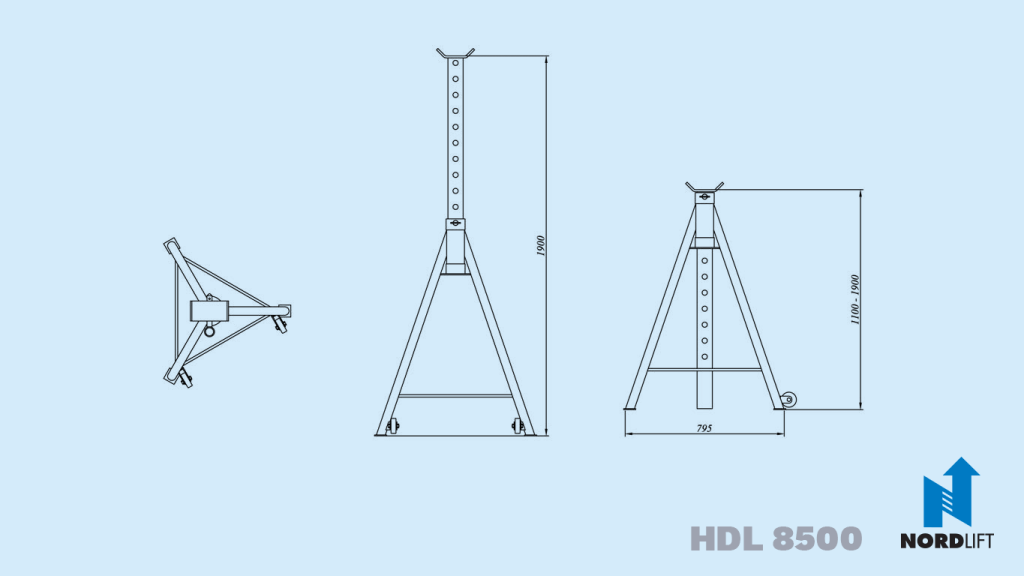 Nordlift Axle Stand SP 8500 dimension drawing