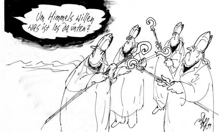 Karikaturen von Fritz Wolf - Ausstellung im LWH Foto: LWH