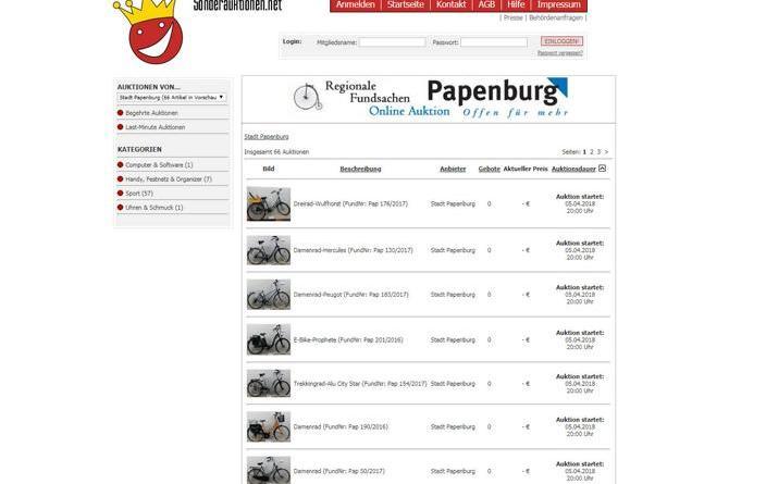 Stadt Papenburg versteigert Fundsachen online - Die Fundsachenversteigerung der Stadtverwaltung findet in diesem Jahr wieder online statt. Foto: Stadt Papenburg