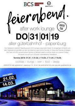 Feierabend. im Alter Güterbahnhof Papenburg - Am 31.01.19 geht die After Work Eventreihe feierabend. in die 9. Auflage