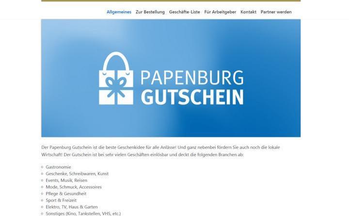 Auf der Homepage www.papenburg-gutschein.de kann ab April der neue Gutschein für den Papenburger Einzelhandel erworben werden. Foto: Stadt Papenburg