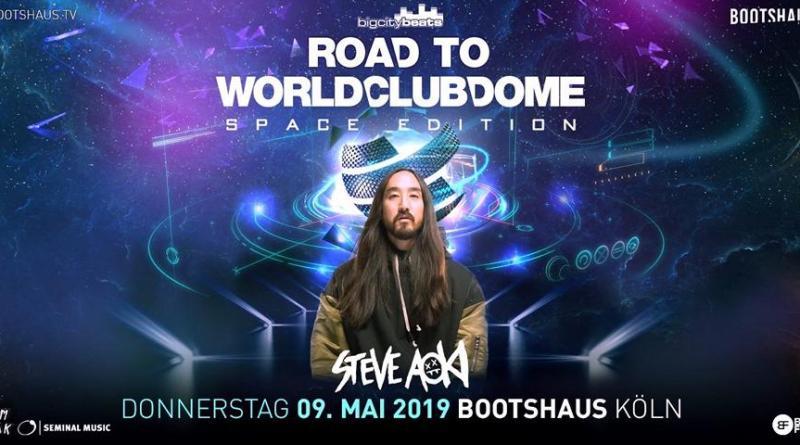 "BigCityBeats WORLD CLUB DOME 2019 - Road to WORLD CLUB DOME Space Edition in Frankfurt - Steve Aoki mit ""Breaking News"" am 9. Mai im Bootshaus, Köln"