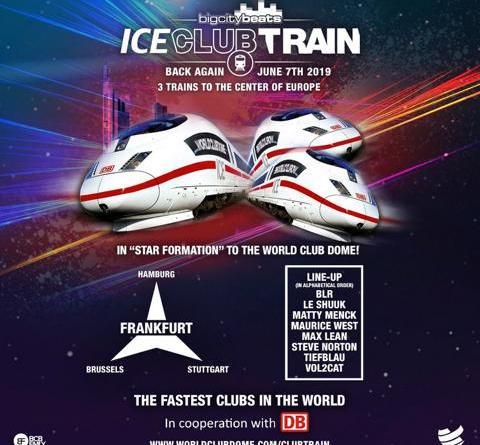 """BigCityBeats WORLD CLUB DOME und Deutsche Bahn pres.: Die ,,BigCityBeats ICE Club Trains"""" Drei ICE-Züge fahren erstmalig in Sternformation mit Clubatmosphäre zur """"Space Edition"""" nach Frankfurt"""