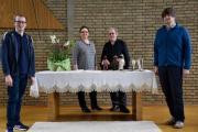 JUZ-TV in der Marktkirche. Alwin Terhalle, Pastorin Bianca Spekker, Kirchenmusiker Gabor Klink-Spekker, Ragnar Wilke. Foto: Stadt Papenburg
