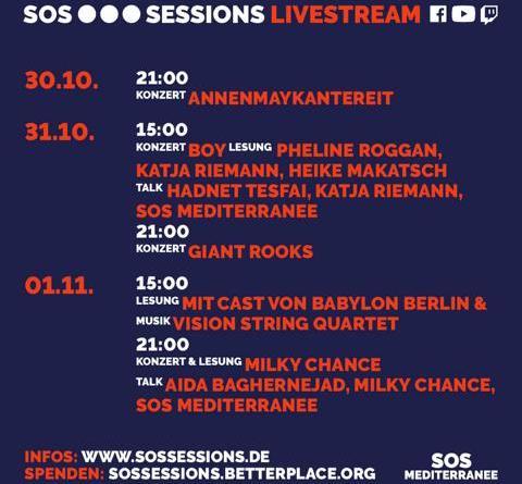 SOS SESSIONS: Streaming-Event live aus dem Berliner Festsaal Kreuzberg mit AnnenMayKantereit, Milky Chance u.v.m.