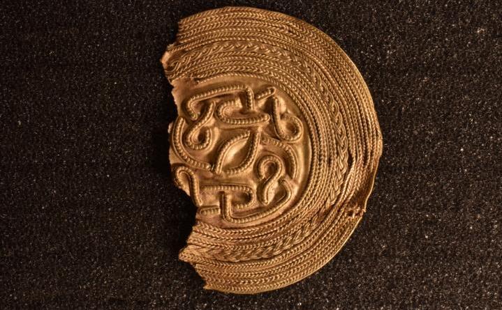 Goldbrakteat aus Neuenhaus - ein archäologischer Goldfund - erste Informationen - Foto: Julian Schierenbeck vom NLD