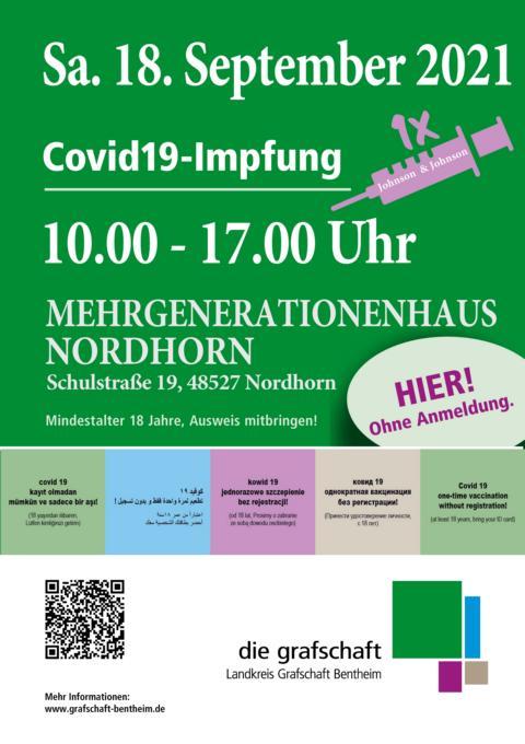 Bundesweite Impfaktionswoche: Landkreis bietet am Samstag Einmal-Impfung in Nordhorn an - Foto: Landkreis Grafschaft Bentheim
