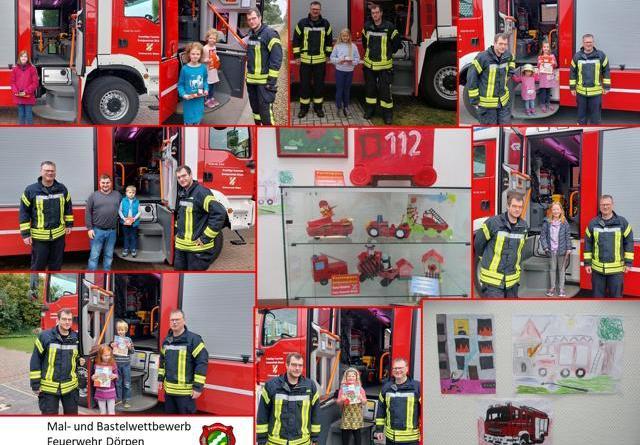 Kleine Künstler stellen die Feuerwehr dar - Gewinner des Mal- und Bastelwettbewerbes im Zuge des Ferienpassprogrammes 2021 ermittelt- Strahlende Kinderaugen in der Samtgemeinde Dörpen-