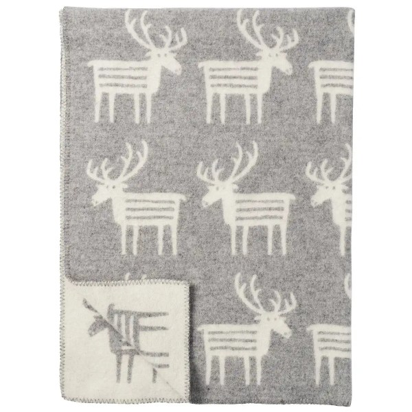 Plaid in lana REINDEER 130x180cm Grey-0