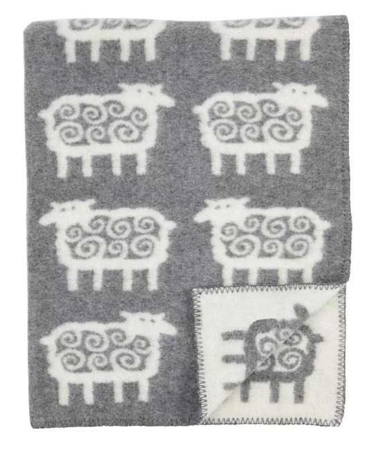Plaid in lana SHEEP 130x180cm Grey-0