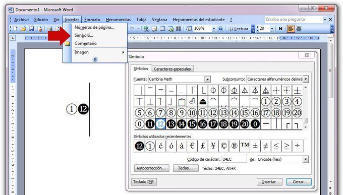 Como insertar símbolos en Microsoft Word 2003