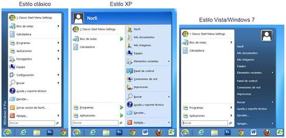 Tres estilos de Classic Shell para el menu de inicio de Windows 8