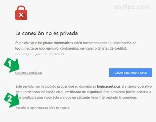 Ventana de error de privacidad del navegador Google Chrome al conectarnos a la red Wi-Fi de Etecsa