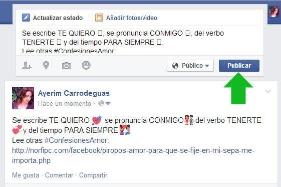 Mensaje en Facebook® copiando y pegando emoticonos EMOJI