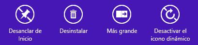 Opciones de los iconos de la pantalla de inicio en Windows 8