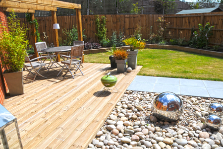 Modern garden with seating area