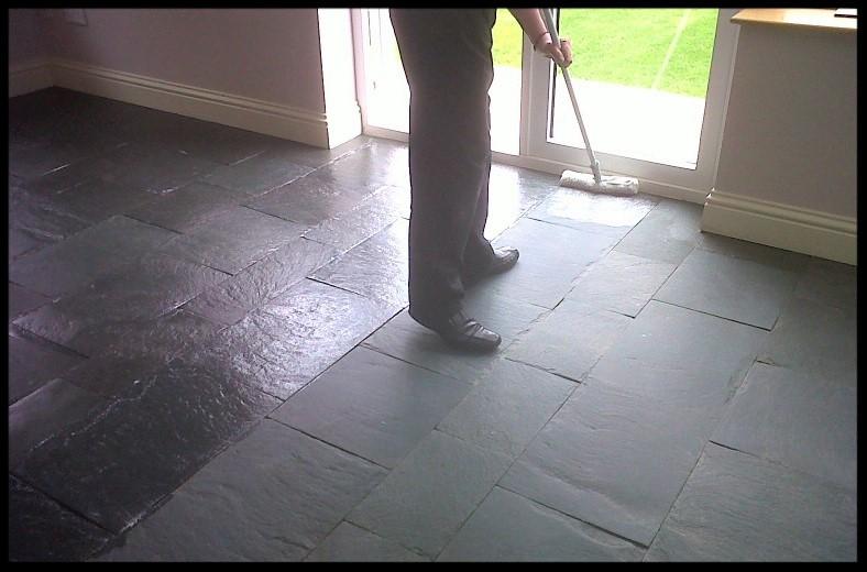 Slate Tiled Floor in Wreningham During Sealing