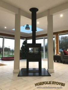 Bohemia X60 Cube Double sided, multi-fuel stove on a 400mm stand