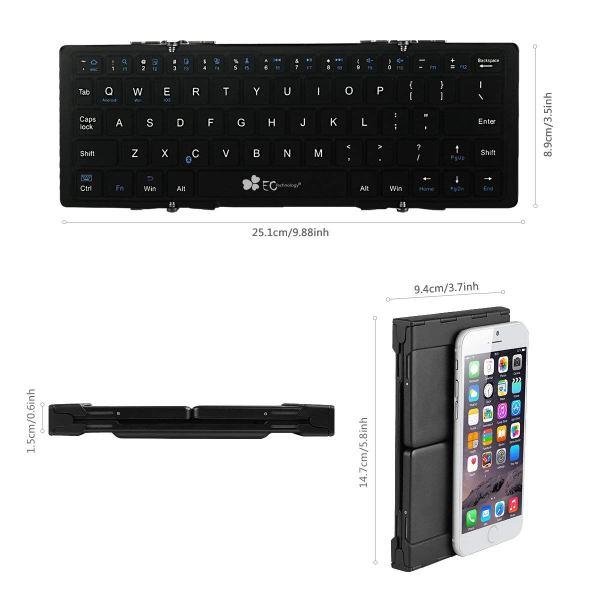 EC Technology Bluetoothキーボード 折りたたみ式 ワイヤレスミニキーボード 出かけた先でスマホで仕事ができるように揃えておきたい折りたたみ式Bluetoothキーボードとスマホスタンド のお話。
