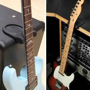 アンプをギタースタンドの代わりにすることもできます。 Guitar Rest PW-GR-01 ギターレストでギターを机に立て掛けられるようになり便利でオススメ!DTMユーザー必見!【ギタースタンド】