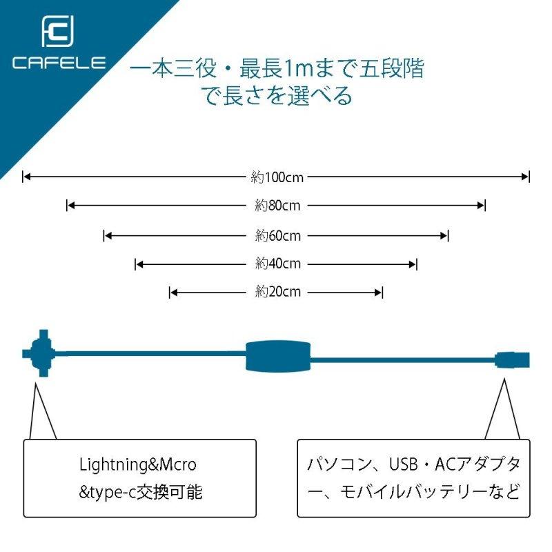 CAFELEケーブルは巻取り式のためケーブルが絡まらず快適 【徹底解説】便利すぎ!「CAFELE ライトニングケーブル USB 3in1巻取り式ケーブル」がオススメ!!!コンパクトで1つは持っておきたい3つの特徴と使用例を紹介!