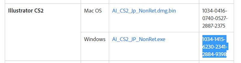 今回はWindowsをダウンロードしたため下段のシリアル番号を使用します。(コピペが楽です) 【徹底解説】イラストレーターを無料でダウンロードする方法!アウトライン化も確認・表示も可能【Illustrator CS2】