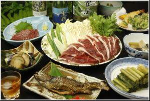 温泉宿青葉荘の料理の一例