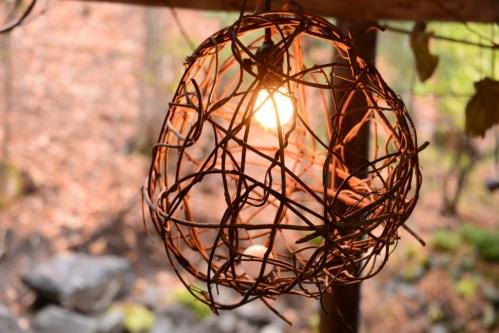 雀の宿やぐらのお手製の露天風呂照明