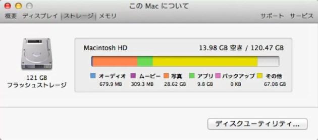 MacBook Airのストレージ容量がほとんどその他で占められている