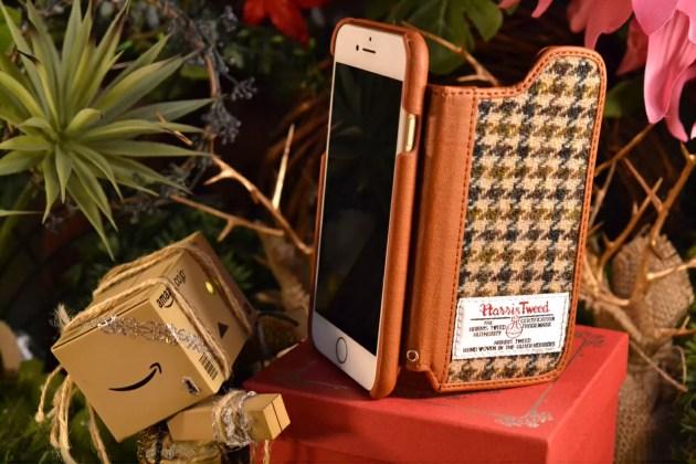 千鳥ハリスツィードの柄背面フラップのiPhone7ケースレビー