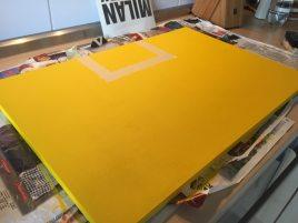 Ankleben der freien und gelben Flächen