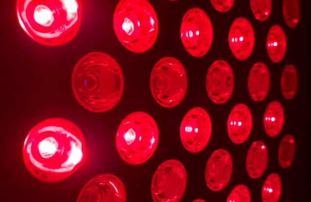 Wake-up routine using red light therapy lamps