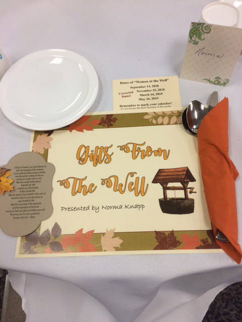 Place settings at Norma's speaking event, Moline, IL