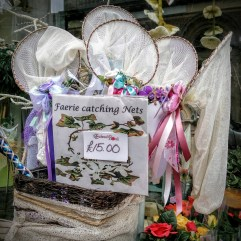 Faerie catching nets in the Glastonbury Flower shop