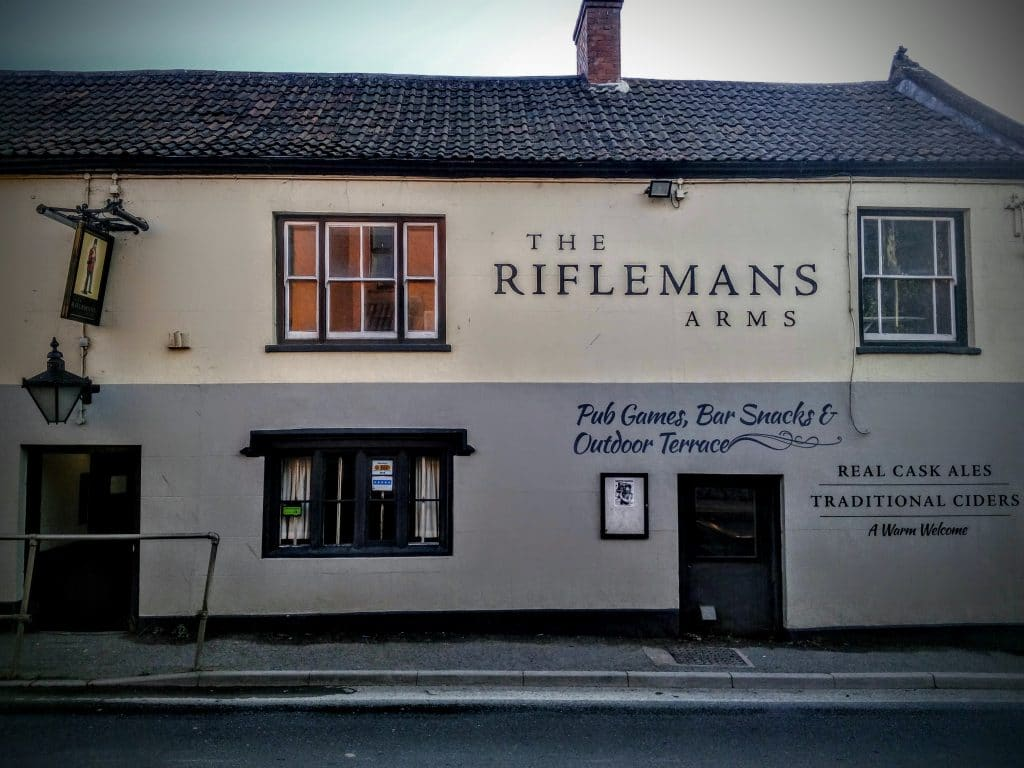 Exterior. The Rifleman's Arms, Glastonbury. Photo by Vicki Steward