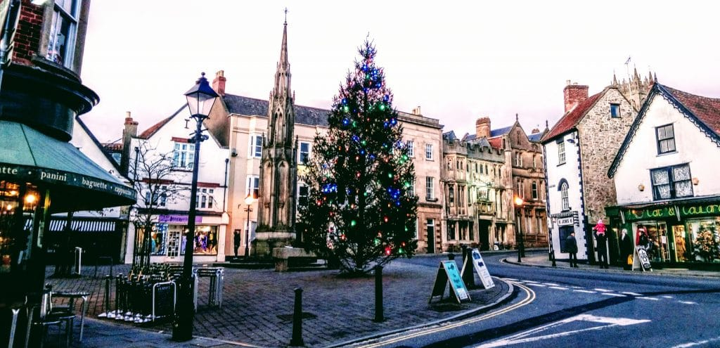Christmas in Glastonbury High Street