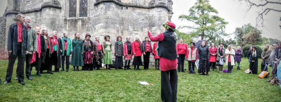 Avalonian Free State Choir, Glastonbury Beltane 2017 in the Abbey
