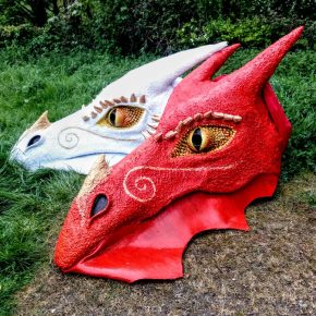 Dragons at the Beltane Celebration, Glastonbury Tor 2017
