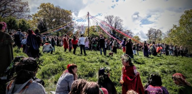 May Day Celebration 2017 on Bushy Coombe, May Pole, Glastonbury