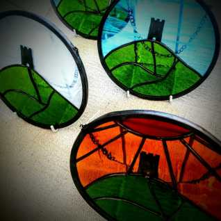 Stained Glass pictures of Glastonbury Tor