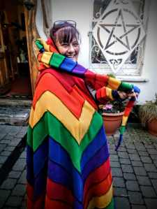 This lady designed her own rainbow cloak