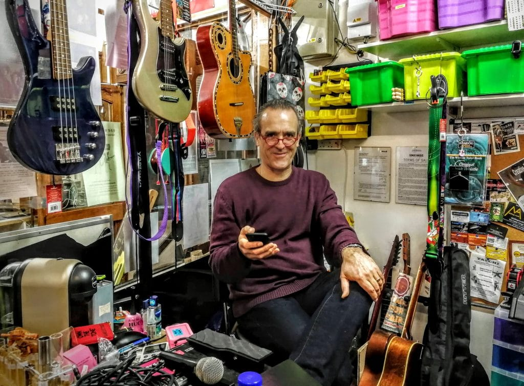 Mark from the Sonus Magus Music Shop in Glastonbury Town