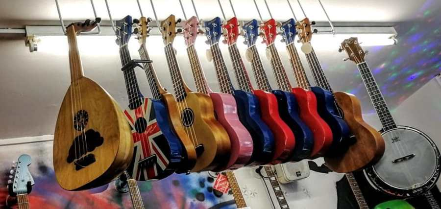 Ukeleles at Sonus Magus Music Shop, Glastonbury Town