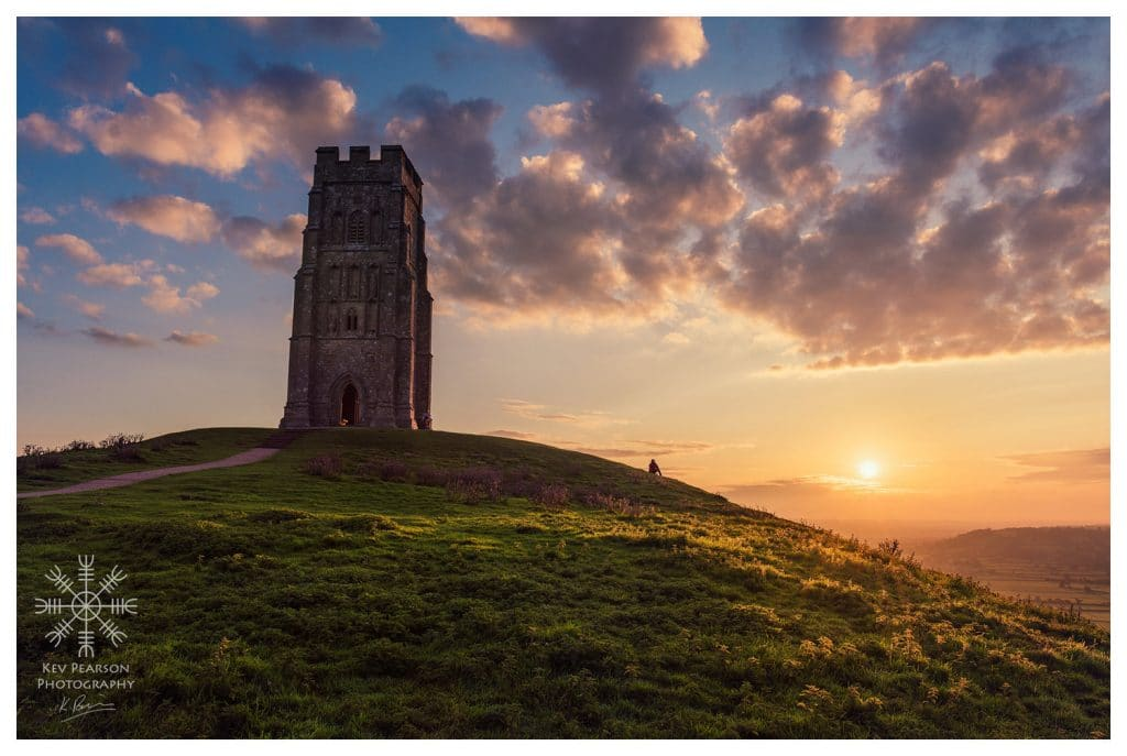Glastonbury Tor tower at sunrise, copyright Kev Pearson.