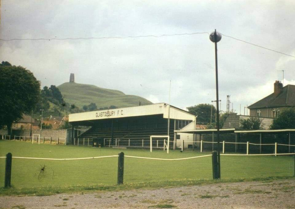 1970's picture of Glastonbury Football Ground and the Tor
