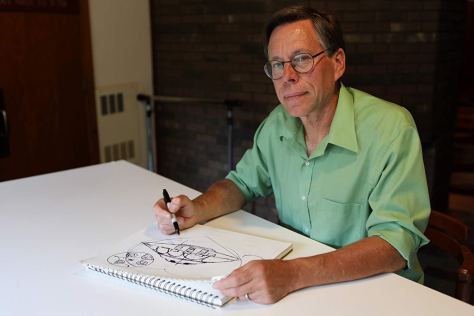 Bob Lazar sketches out the UFO he worked on at S-4 near Area 51.