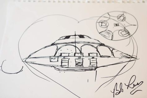 Sketch of UFO that Bob Lazar claims to have worked on at S-4 near Area 51.