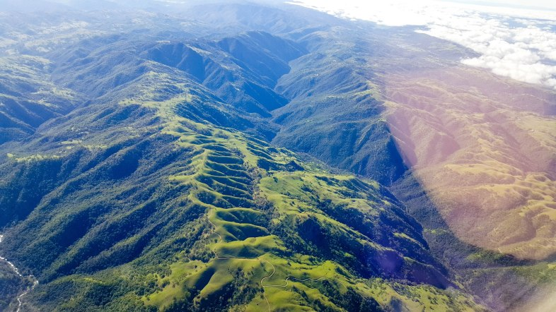 Lush green foothills covered in vegetation near Malpitas, California, as seen from airplane window looking south
