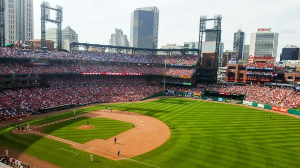 Busch Stadium, late afternoon in May