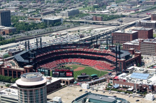 Busch Stadium from the top of the Arch